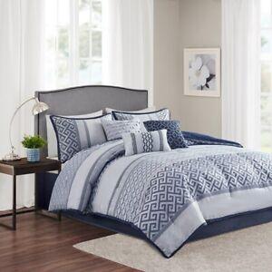 New Beautiful Navy Geometric 7 pcs Cal King Queen Comforter set
