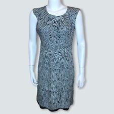 Tory Burch Women's Dress 10 Career Sheath Silk Blend Blue Geo Print Cap Sleeve