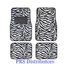 Girly ZEBRA WHITE BLACK CAR FLOOR MATS in 4 Pieces Gift NEW