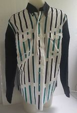 Vintage Wrangler Shirt Cowboy Cut X-Long Tails Mens Size Medium Black Teal