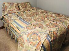 Chaps Reversible Comforter bedspread Queen Striped Neutral panels curtains shams