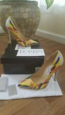 NWT Jimmy Choo Anouk Feather Print leather pumps heels size 38 US 7.5 8