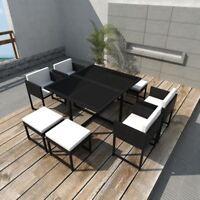 vidaXL 21 Piece Outdoor Dining Set Poly Rattan Wicker Black Garden Chair Table