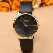 Unisex Fashion Geneva Roman Leather Band Analog Quartz Wrist Watch Gift Black