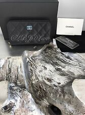 NWT CHANEL 2017 Black Caviar Small Zip Compact Wallet Coin Purse Card CaseHolder