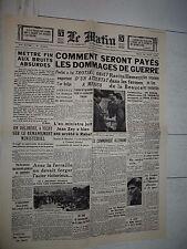 FAC-SIMILE A LA UNE JOURNAL LE MATIN 22/08 1940 ASSASSINAT LEON TROTSKY