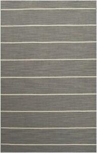 Jaipurrugs Flat-Weave Stripe Pattern Wool Gray/Ivory Cape Cod Rectangle Area Rug