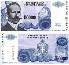 BOSNIA 1000000 Dinara Banknote World Paper Money UNC Currency Pick p-152 Million