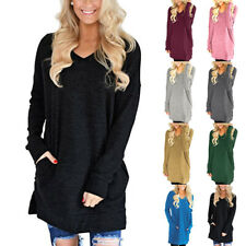 Women Fall V Neck Long Sleeve T Shirt Casual Solid Blouse Loose Pocket Tunic Top