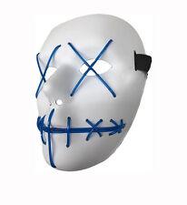 WHITE Cross Occhio Blu LED accendere Maschera Costume Di Halloween Costume Cosplay