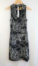 Vintage NICOLE MILLER PETITES Silk Knit DRESS Size PS Black White Cowl Neck