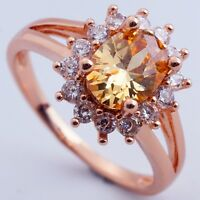 Size 6 CHAMPAGNE C.Z FASHION SUNFLOWER DESIGN Women ROSE GOLD PLATED RINGS