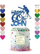 Personalised Cricket Cake Topper, Glitter, Birthday, Cake Decoration, Premium.
