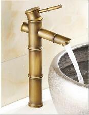 Bamboo Design Vanity Antique Brass Bathroom Basin Faucet Sink Mixer Vessel Tap