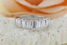 Anniversary Bar Set Wedding Ring Band 1.8ct Baguette Diamond 14k White Gold Over