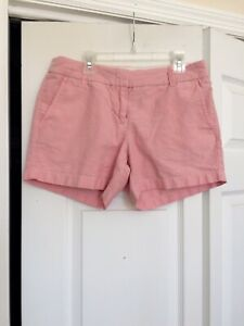 J. Crew Flat Front Chambray Shorts. Women's Size 4. Pink. 4 inch Inseam