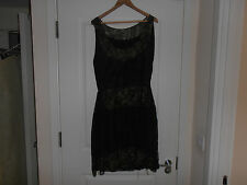 A Rare 1920s French Designer  Yette Lions Black Silk and Lace Cocktail Dress