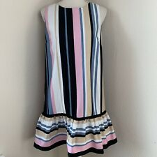 Nicole Miller Women's Size 14 Large Striped Dress Pink Blue White Beige Black
