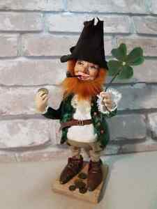 Leprechaun doll handmade from polymer clay. A gift for St. Patrick's Day. Doll