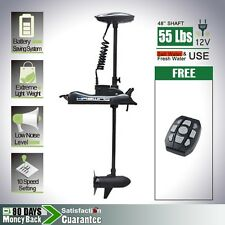 """Black 12V 55LBS 48"""" Variable Speed Bow Mount Electric Trolling Motor Cayman"""