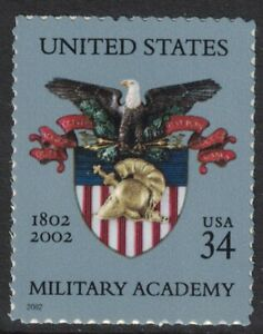 Scott 3560- Military Academy, Eagle and Shield- MNH (S/A) 34c 2002- unused mint