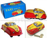 MS644 Mini Taxi Car Retro Clockwork Wind Up Tin Toy w/Box