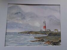 Original painting.  Watercolour. Portland bill Lighthouse. Dorset. Mounted.