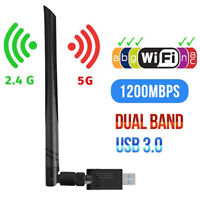 1200Mbps Wireless USB Wifi Adapter Dongle Dual Band 2.4G/5GHz w/Antenna 802.11AC