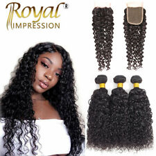 10A Curly Wave Human Hair Bundles With Closure Brazilian Virgin Hair Extensions