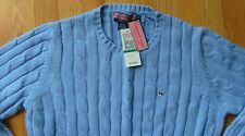NWT Vineyard Vines Kelly Street Cable Sweater Hydrangea Blue Size Large $125
