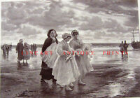 CATHOLIC GIRLS ON BEACH AFTER CHURCH FIRST COMMUNION ~ 1884 Art Print Engraving