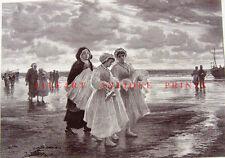 CATHOLIC GIRLS ON BEACH AFTER CHURCH FIRST COMMUNION ~ 1884 Art Print Engraving