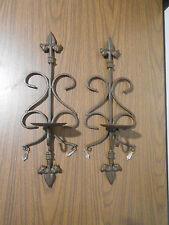 """Pair Brown Wrought Iron Wall Hanging Pillar Candle Holders 18 1/2"""" Tall Nice!"""