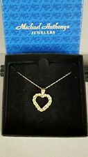 Vintage Michael Anthony Ma 14K Yellow Gold Twisted Rope Open Heart Necklace &Box