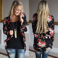 UK Womens Long Sleeve Floral Kimono Cardigan Ladies Casual Jacket Tops Plus Size