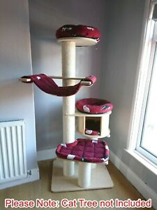 Handmade BURGUNDY RED/KITTY CATS Cat Bed Replacement Set for Natural Paradise XL