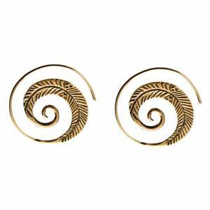 81stgeneration Brass Gold Tone Spiral Leaf Fern Round Tribal Earrings