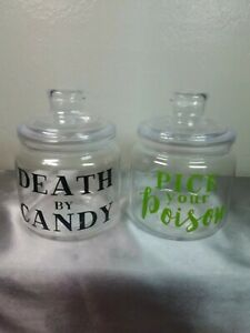 "New Set of 2 Plastic Candy Jars with Lids ""Death by Candy"" & ""Pick Your Poison"""