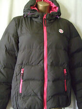 NEW £95 SUPERDRY WOMENS MEDIUM FEATHER & DOWN HOODED BITUMEN ELEMENTS JACKET