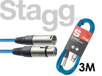 Stagg Microphone Mic Cable SMC3 3 Meter XLR Male to XLR Female BLUE - FREE P&P