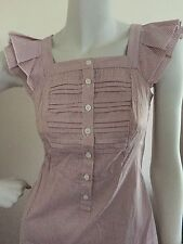 CUE PINK STRIPES SHORT SLEEVE CUTE FRILLY SHIRT WORK OFFICE TOP SIZE 6 PREOWNED