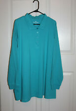 WOMAN WITHIN Long Sleeve Polo Style Knit Top 3X  NWT