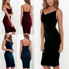 Sexy Open Back Sleevless Velvet Party Mini Dress Women Bodycon CocktailClubwear