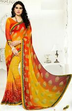 Stylist Multi Color Printed Chiffon Saree with a Blouse D.No SK421