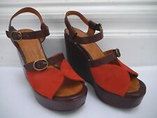 NEW CHIE MIHARA $405 Mar red suede brown leather platform wedge sandals size 36