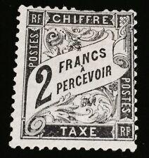 France Taxe N°23 2 F Noir NSG TB D'aspect Dents Courtes Mais Beau Cote 2000€