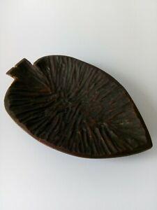 Vintage Hand Carved Wooden Bowl Leaf Interior Accent Gift Decoration Used Good