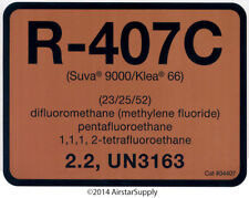 R-407C / R407C SUVA 9000 / KLEA 66 Refrigerant Label # 04407 , Pack of (10)