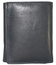 Mens Black Solid Cow Leather Tri-Fold Casual Dress Heavy Duty Wallet 14BK
