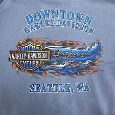 HARLEY-DAVIDSON MOTORCYCLES HOODIE SEATTLE WA. MEN'S MEDIUM LIGHT BLUE USA